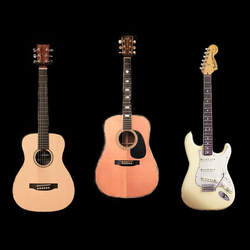 Guitare classique, guitare folk, et guitare électrique
